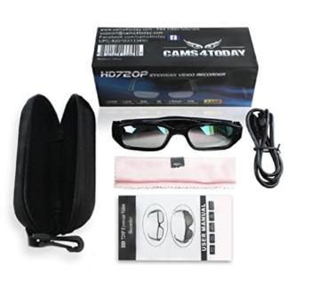 Kamera- Gläser mit klare Linsen , Spy Cam Brillen , High Definition (HD ) , 720p + Free Tutorial Video Kurs + 8GB Karte - 2